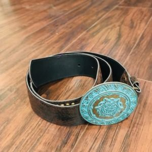vintage looking leather belt with antique buckle